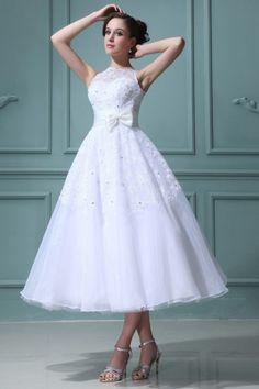 Boot Ausschnitt Perlen Applikation Schleife wadenlanges Brautkleid