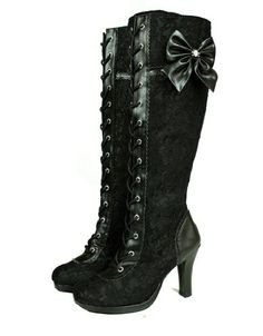 Amazon.com: Women's Steampunk Lolita Cosplay Goth Victorian Knee High Black Boots Size 6: Everything Else