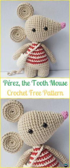 Crochet Pérez the Tooth Mouse Amigurumi Free Pattern - Amigurumi Crochet Mouse Toy Softies Free Patterns
