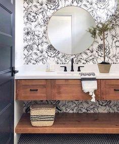 Trendy Bathroom Wallpaper Black And White Sinks Bathroom Inspiration, Hill Interiors, Bathroom Decor, Bathroom Wallpaper, Interior, Trendy Bathroom, Bathroom Design, Remodel Bedroom, Home Decor
