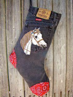 White horse Christmas stocking black faded by CreatedForYouByUs, $35.00
