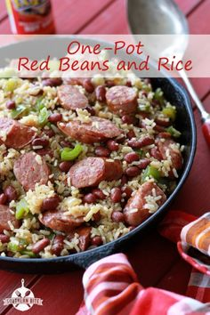 One-Pot Red Beans and Rice Recipe. I made this and is is delicious. I plan on using dry red beans and long grain rice instead of canned and instant. Sausage Recipes, Rice Recipes, Pork Recipes, New Recipes, Dinner Recipes, Cooking Recipes, Favorite Recipes, Healthy Recipes, Aloo Recipes