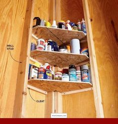 CAUSEWAY BETWEEN GARAGE AND HALL- shelves that fit snugly between the corner studs and support them with cleats. These corner shelves are perfect for storing smaller items such as glues, oils, waxes and polishes, which get lost on larger shelves. Storage Shed Organization, Diy Garage Storage, Storage Ideas, Storage Hacks, Organizing Ideas, Workshop Organization, Workshop Ideas, Storage Solutions, Workshop Layout