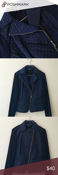 🎉Host Pic🎉Jones New York Moto Jacket Navy quilted lightweight Moto jacket by Jones New York in asymmetrical zipper design. 2 front flap pockets. Size Small. NWOT!! Jones New York Jackets & Coats Utility Jackets