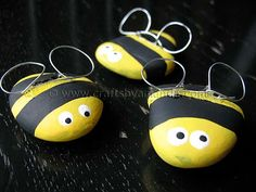 Rock Bees - Crafts by Amanda.  What a cute and simple idea.  The kids will love it.