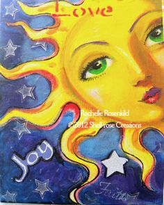 "Sun face painting Celestial goddess art Original 8 x 10"" whimsical decor CaaT. $50.00, via Etsy."