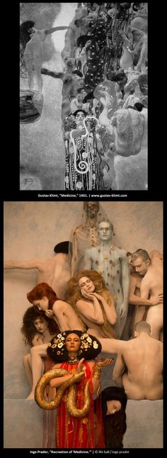 """Photographer Inge Prader recreates Gustav Klimt's """"Medicine"""" ceiling painting, which was sadly destroyed in a fire in by retreating SS troops in 1945."""