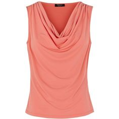 Precis Petite Crepe Cowl Neck Top , Orange found on Polyvore featuring polyvore, women's fashion, clothing, tops, orange, petite, orange sleeveless top, sleeveless tops, relaxed fit tops and red top