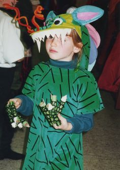 Dragon costume I made for my daughter in 1996 using recycled shoulder pads for the scaly back