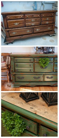 A great solution to update that Old 80's Dresser you don't know what to do with. Here's an amazing before and after using some milk paint and decoupaged tissue paper!