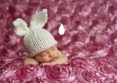 Knit Baby Bunny Hat Hand Knit Infant/ Newborn by LittleBirdLucy