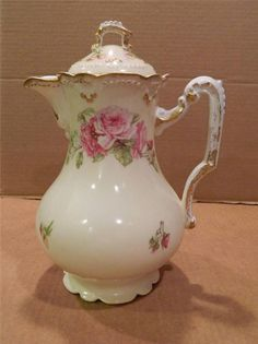 AK Limoges Hand Painted Teapot or Chocolate Pot Pink Roses Antique