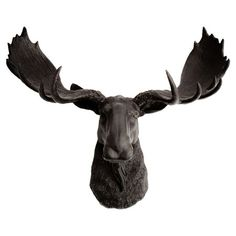 Noble and serene, this faux moose head surveys your home office or entryway with regal poise. Pair it with light walls for a stunning contrast, or hang him o...