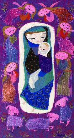 Madonna illustration by Mary Blair. Mary Blair, Catholic Art, Religious Art, Disney Artists, Holy Mary, Madonna And Child, Sacred Art, Children's Book Illustration, Digital Illustration
