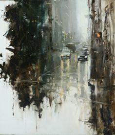 """HSIN-YAO TSENG Fine Art - Before: Composition #2 Oil on panel 24""""x24"""" 2009"""