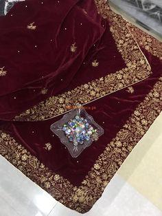 Check Out Luxury Embroidered Maroon Velvet Shawl Collection 2018 at Master Replica Pakistan Call/WhatsApp: Walima Dress, Pakistani Bridal Dresses, Pakistani Dress Design, Bridal Lehenga, Wedding Dresses, Designer Party Wear Dresses, Indian Designer Outfits, Indian Outfits, Indian Dresses