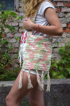 ** Boho crochet tote bag - wonderful gift for women and girls. Ready to shipping **  This crocheted bag is made from a soft yarn: 50% wool, 50% Cotton.  Lining is made of satin linen, there are two pockets. There is lock-zipper to keep the bag closed. Size: 21 cm x 27 cm / 8.27 x 10.6 inches. Handles 64 cm / 25.17 inches. Practical, fashionable tote for any use and it is also quite spacy, so you can fit a lot of stuff inside.  100% handmade.