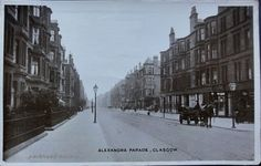 Dennistoun: Onslow Drive from Cumbernauld Road. Duke Street at Cumbernauld Road. Photo was commissioned by McLaren Brothers of 645 Duke Street and distributed as a postcard. The photo is taken from Miller Street East which is now Millerston Street in or shortly after 1905. The shops are from left to right James …