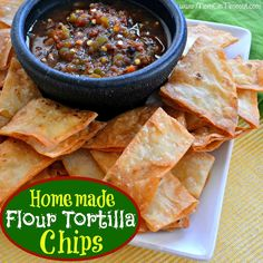 Homemade Flour Tortilla Chips Recipe - Mom On Timeout | Easy, Restaurant-style flour chips!  Totally addictive :) #recipe