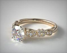 18K Yellow Gold Ribbons and Bows Engagement Ring