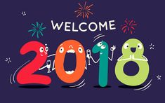 Download wallpapers 4k, Happy New Year 2018, art, Welcome 2018 Year, creative, New Year 2018, xmas, Christmas