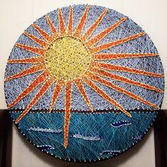 Sun string art. #diy #beach #waves #sun #nailart #sunnyweather