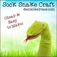 Snake Sock Puppet - This sock puppet is very easy to make and take less than 15 minutes.  Learn how to make the snake sock puppet on www.daniellesplace.com