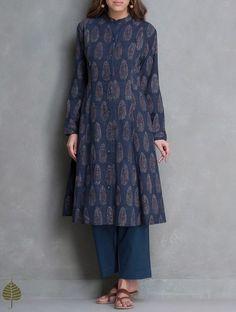 Buy Indigo Black Madder Ajrakh Printed Cotton Kurta with Pockets by Jaypore Apparel Tunics & Kurtas Online at http://Jaypore.com