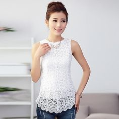 Women's Sleeveless Lace Splicing Tank Casual Wear, Casual Outfits, Fashion Outfits, Fashion Ideas, Pretty Outfits, Cute Outfits, Look Chic, Lace Tops, Blouse Designs