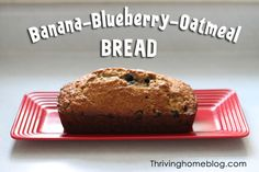 A yummy combination of bananas and blueberries mixed into a hearty, healthy bread. Double the recipe and freeze the extra loaf!