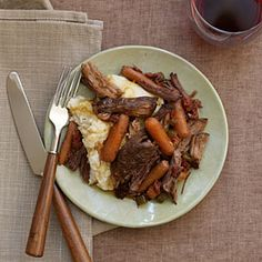Prep the chuck roast in the morning and let it cook in the slow cooker all day so the meat will be tender, juicy, and ready to eat when you come home from work. Serve the simple gravy over the roast and carrots.