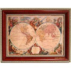 Red old world map framed art print pinterest map frame printing old world map gumiabroncs Images