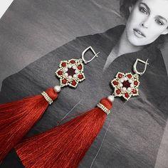 Tassel Earrings long earrings beaded earrings red tassel