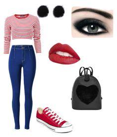 Stripes Jeans Red converse Black Bag Black Earrings