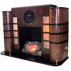 American Art Deco Streamline Electric Fireplace