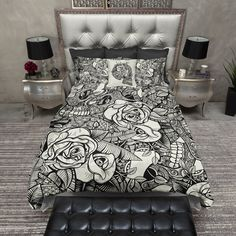 Black and Cream Tribal Skull & Rose Skull Duvet Bedding Sets Teen Bedding Sets, Duvet Bedding Sets, Luxury Bedding Sets, Comforters, Crib Sets, King Comforter, Bedspreads, Tribal Bedding, Cream Bedding