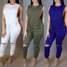 Sexy Solid Color Sleeveless Elastic Waist Pants Jumpsuits