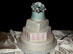 Many shapes wedding cakes with handmade sugar flowers - roses and stephanotis