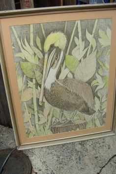 FRAMED Original Signed Numbered Lithograph Of PELICAN BY DON RUSSELL 1970'S