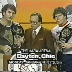 Bob and Brad Armstrong with announcer Gordon Solie in Georgia Championship Wrestling  - SJ