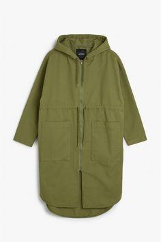 Hooded denim coat