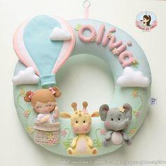 Baby Diy Projects, Clay Projects, Sewing Projects, Felt Crafts Diy, Baby Crafts, Felt Name Banner, Felt Ornaments Patterns, Bear Felt, Felt Wreath