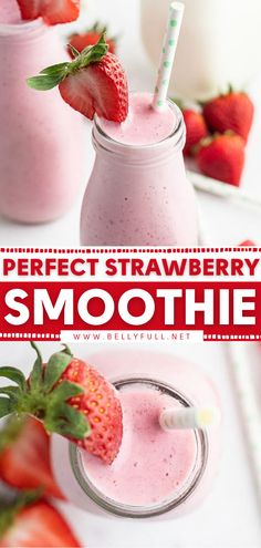 Go get your blender and whip up this strawberry smoothie recipe in just 5 minutes! This summer drink is sure to become one of your favorites. While it is creamy, luscious, and dessert-like, it is actually a healthy breakfast to start your day off right! Save this pin! Frozen Strawberry Smoothie, Strawberry Drinks, Frozen Strawberries, Strawberry Recipes, Strawberries And Cream, Low Calorie Recipes, Easy Healthy Recipes, Quick Easy Meals, Simple Recipes