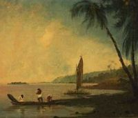 The view from Point Venus, Tahiti, where Cook and his men observed the transit of Venus. Oil on canvas, William Hodges, 1744-1797. Credit: National Library of Australia.