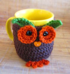 Crochet Pattern - Crochet Owl Cup Cozy, Tea Mug Sleeve PDF Pattern - CCZ06142013-04 - Instant Download