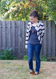 britex stripe julia cardigan