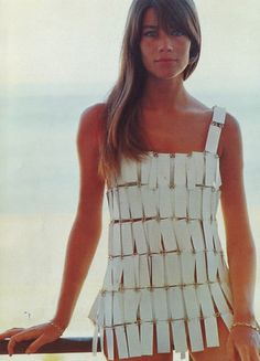 the singer, model, muse Francoise Hardy (b.1944) wearing an iconic Pierre Cardin swimsuit. via Fashion's Most Wanted