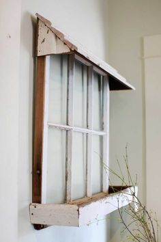 50 ways to use old windows- old window with box and awning pane ideas for porch 50 Ways To Use Old Windows - Rustic Crafts & Chic Decor Wooden Windows, Vintage Windows, Windows And Doors, Antique Windows, Decorative Windows, Old Window Frames, Old Window Decor, Window Panes, Window Frame Ideas