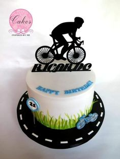 Cycling - Cake by Aneesa Bycicle Vintage, Bycicle Art # Bicycle Party, Bicycle Cake, Bike Cakes, Bike Birthday Parties, 40th Birthday Cakes, Dad Cake, Bottle Cake, Sport Cakes, Cake Icing