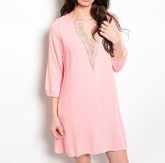 Laced Neckline Shift Dress in Light Pink #USTrendy www.ustrendy.com